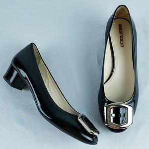 Prada Buckle Detail Block Heels Black Patent 36.5